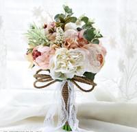 Ucuz Düğün Gelin Buketleri Yapay Çiçekler Bahçe Düğün Için Kristal Rhinestone Gelin Holding ile Nedime Buketleri Broş Buket