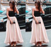 Rosa Rock a line Abendkleider 2019 trägerlose Abschlussballkleider schwarz Top Satin Knöchellänge Partykleid Benutzerdefinierte halb formale Anlässe Kleider