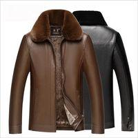 2018 Новый Отворот Молния Кожаная Мужская Зимняя Повседневная Плюс Бархатный Бренд Мода Роскошный Дизайнер Мужские Дизайнерские Куртки