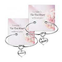 186ea21eff0d Ate the Knot Pulsera Brazaletes Damas de honor Novia Pulseras Regalo de  boda 5 piezas Plata