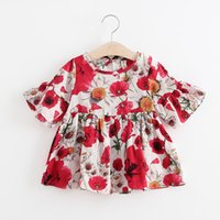 Baby Floral Printing Dress Infant Princess Skirt 2018 Summer...