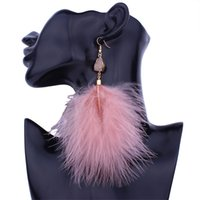 1pair Dream Personality Feather Earrings Elegant Long Tassel Temperament 4 kleuren om oorbellen te kiezen Gratis verzending