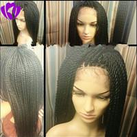 Pleine densité noir / brun / blonde Micro tressé avant de lacet perruques Perruque synthétique avant de lacet femmes afro-américaines tressé perruque de dentelle Twist Havana