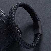 Moda Erkek Takı Örgülü Deri Bileklik El Yapımı Bileklik Siyah Paslanmaz Çelik Manyetik Klipsler Erkekler Bilek Bandı Hediyeler PW740