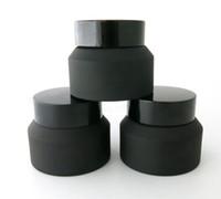 200 Stück 15G 30G 50G Frost Creme Glas mit schwarzen Deckeln weiße Dichtung Container Kosmetikverpackung, 15G Glas Cremetopf