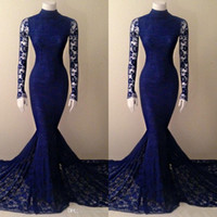 2018 Royal Blue Lace Mermaid Dress Prom Vestido de cuello alto Corte de cola de pez Corte de manga larga Vestidos de noche formales