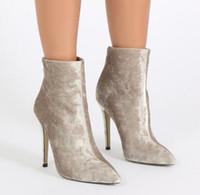 2018 العلامة التجارية الجديدة تصميم أحذية ربيع الخريف أحذية الكاحل لينة المخملية نقطة أصابع عالية الكعب stletto أحذية الجوارب