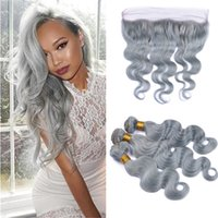 Silver Grey Brazilian Human Hair Bundles with Frontal Lace C...