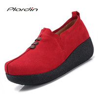 Plardin New spring autumn woman shoes Flat Platform genuine ...