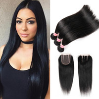 Бразильский Virigin волос 4 пучки с закрытием Реми волос перуанский прямо с закрытием 100% человеческих волос кружева закрытие с пучками 5 шт.