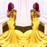 Prom Dresses 2018 Yellow Sexy Off- Shoulder Mermaid Evening G...
