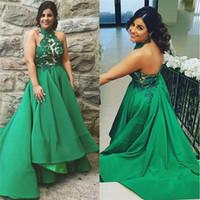 2018 Sexy Hiter Hi-Lo vestidos de cocktail personalizado verde chiffon peças grânulos vestidos de baile de encosto Mulheres especiais ocasioning vestido de casa