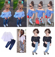 2018 New Fashion Baby Girls Striped Lace Off Shoulder+ Denim...