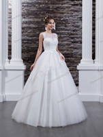 Beauty White Tulle Scoop Applique Beads A- Line Wedding Dress...