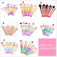 10pcs mermaid makeup brush set 3D pattern mermaid makeup bru...