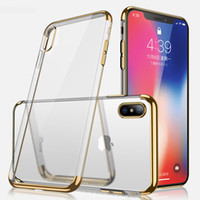 Metal galvanoplastia suave TPU Clear Back Case para iPhone X 8 7 6 6S Plus Samsung S8 S9 Plus Note 8 Protector Cases