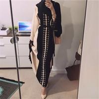 중동 새로운 플러스 사이즈 Abaya 이슬람 복장 두바이 Kaftan 2018 이슬람 터키어 O - 넥 뜨개질 소프트 빈티지 Abayas 드레스 의류 vestidos
