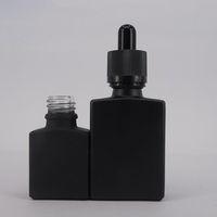 Gros noir mat carré vide 30 ml verre flacon compte-gouttes avec capuchons résistant aux enfants pour bouteille de verre de parfum bouteille e-jus