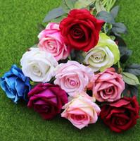11pcs / lot Dekor Rose Künstliche Blumen Silk Blumen Blumen Latex Real Touch Rosen-Hochzeit Bouquet Zuhause-Party-Design Blumen