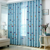 Karikatür Perdeleri Yelkenli Tekne Baskılı Vual Sırf Pencere Ekran Iplik Çocuk Erkek Odası Yatak Odası Perdesi Kumaş Tül Custom Made