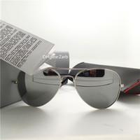 Yüksek Kaliteli Lens Erkek Kadın Güneş Gözlüğü UV400 Klasik Plaj Parti 58 Pilot Unisex Kutuları Ile Vintage Gözlük Moda Cıva Ayna ...