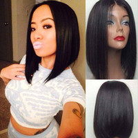 Natural Hairline Glueless 1b# Black Short Bob Synthetic Wigs...