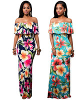 Hot Sale Women Floral Printed Dresses Slash Neck Off the Sho...