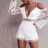 2018 New Summer Beauty Sexy Hollow Water Soluble Lace Deep V-Neck Sling mono Shorts 6Q1665