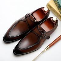 새로운 빈티지 디자이너 남자의 결혼식 신발 정품 가죽 스님 스트랩 신발 남성 라운드 발가락 정식 드레스 플랫 남성