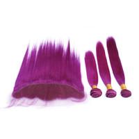 Nueva Llegada Recta Sedosa Del Pelo Humano Púrpura 3 Paquetes Con Encaje Cierre Frontal Popular Color Púrpura Tejidos Con 13x4 Cierre Frontal
