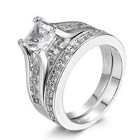 실버 컬러 0.5ct 입방 지르코니아 초조 CZ 다이아몬드 반지 패션 웨딩 약혼 반지 여성을위한 세트 R570