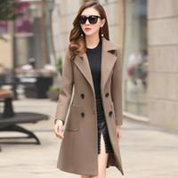 2018 ربيع المرأة الكورية الجديدة معطف من الصوف طويل من الصوف معطف من الصوف النسخة الكورية من تدفق سليم رقيقة