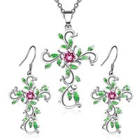 Zhen Rong wünschen dem Muster Glauben Himmel Kreuz Ohrringe Halskette pendeloque Cut Anzug Gott vertrauen wir
