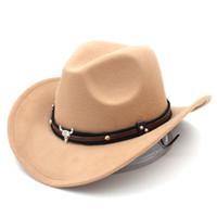 Moda Erkekler Kadınlar Yün Blend Batı Kovboy Fedora Cap Geniş Brim Sombrero Godfather Cap Kilisesi Caz Şapka Tauren Deri Band Caps