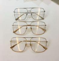 marco de metal del oro claro cuadrado lentes de la lente gafas de sol de la manera Gafas Raras nuevo con la caja
