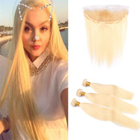 Bleach Blonde Malaysian Human Hair Bundles and Frontal Lace ...