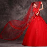 Barato 2018 Catedral Velos de novia 100% Imágenes reales Accesorios de boda nupcial de encaje 2016 Long Beach Velos de boda formales Envío gratis