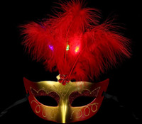 Luminous feather mask, bar masquerade mask, Halloween mask, ...