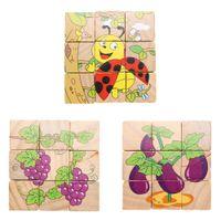 Niños Cognición de madera Puzzle Juguetes Seis lados Rompecabezas Juguetes para bebés Niños Niños Niñas Aprendizaje de educación inicial de desarrollo