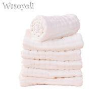 Wasoyoli 5 Peices / lot 8 capas blancas paños del Burp 17x46cm 100% algodón, muselina Seersckuer alimentación infantil de baño de lavado de cara