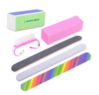 6 unids / set limas de uñas cepillo Durable Buffing Grit arena Fing Nail Art Tool accesorios lijar archivo UV Gel polaco herramientas regalo envío gratis