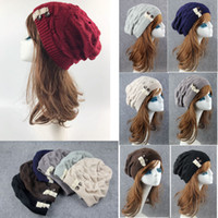 7 colors Women Winter Knitted Baggy Beanie Cap Lace Button W...