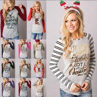 النساء عيد الميلاد الأيائل القمصان عيد الميلاد الغزلان القمصان قمم عيد الميلاد رسالة مخطط تيز عادية سانتا كلوز بلوزة أزياء قمصان طويلة الأكمام