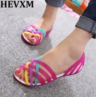HEVXM Women Sandals 2017 Summer New Candy Color Peep Toe Beach Valentine  Rainbow Jelly Shoes Woman Wedges Sandals 859313b73fe9