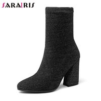 SARAIRIS Women Mid- calf Stretch Slim Boots High Heel Shoes W...