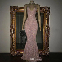 Pink Sparkly Sequins Sexy V- Neck Mermaid Evening Dresses 201...