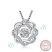 Moda clásica giran bailando CZ piedra 925 colgante de plata para las mujeres regalo de la joyería de moda para el amor dos colores
