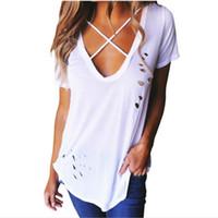 Buracos Sexy Lossky Verão Mulheres Sexy V-Neck manga curta t-shirts Sólidos Cotton T Buracos Shirts atadura Tops T soltos