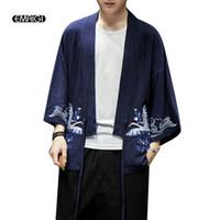 Erkekler Yaz Pamuk Keten Nakış Ceket Hırka Erkek Moda Günlük Gevşek Kimono Gömlek Kaban