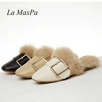 Big Size 35- 43 Brand Designers Metal Buckle Round Toe Flat F...